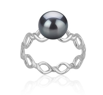 Wave Black 7-8mm AAAA Quality Freshwater 925 Sterling Silver Cultured Pearl Ring