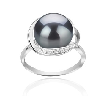 Wendy Black 11-12mm AAA Quality Freshwater 925 Sterling Silver Cultured Pearl Ring