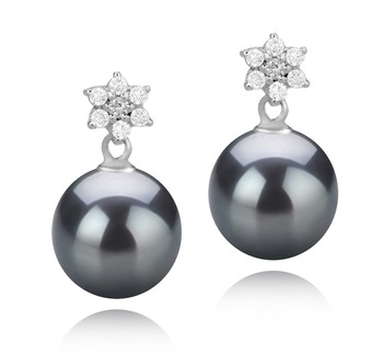 Wilma Black 8-9mm AAAA Quality Freshwater 925 Sterling Silver Cultured Pearl Earring Pair