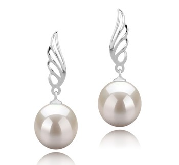 Wing White 9-10mm AAAA Quality Freshwater 925 Sterling Silver Cultured Pearl Earring Pair