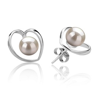 Winna-Heart White 6-7mm AAAA Quality Freshwater 925 Sterling Silver Cultured Pearl Earring Pair