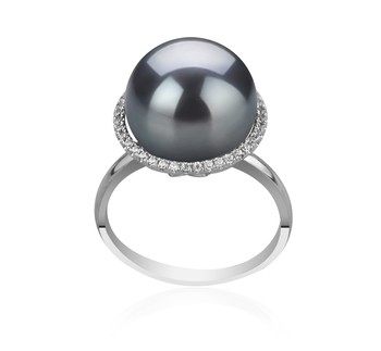 Yanaka Black 12-13mm AA Quality Tahitian 925 Sterling Silver Cultured Pearl Ring