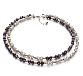 YinYang Black and White 6-7mm Double Strand A Quality Freshwater 925 Sterling Silver Cultured Pearl Necklace