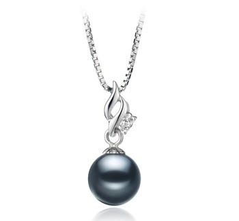 Zalina Black 7-8mm AAAA Quality Freshwater 925 Sterling Silver Cultured Pearl Pendant