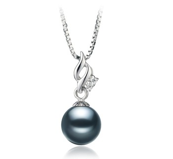 Zalina Black 7-8mm AA Quality Japanese Akoya 925 Sterling Silver Cultured Pearl Pendant
