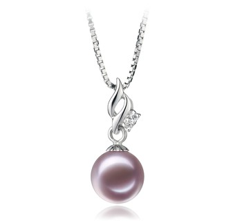 Zalina Lavender 7-8mm AAAA Quality Freshwater 925 Sterling Silver Cultured Pearl Pendant