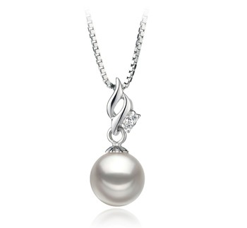 Zalina White 7-8mm AA Quality Japanese Akoya 925 Sterling Silver Cultured Pearl Pendant