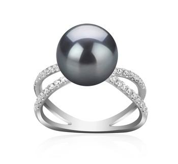 Zana Black 9-10mm AAA Quality Tahitian 925 Sterling Silver Cultured Pearl Ring