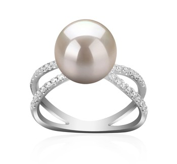 Zana White 9-10mm AAAA Quality Freshwater 925 Sterling Silver Cultured Pearl Ring