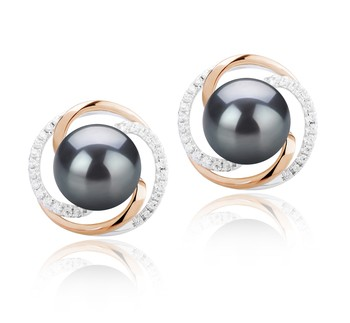 Zina Black 8-9mm AAAA Quality Freshwater 925 Sterling Silver Cultured Pearl Earring Pair