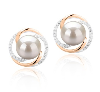 Zina White 8-9mm AAAA Quality Freshwater 925 Sterling Silver Cultured Pearl Earring Pair