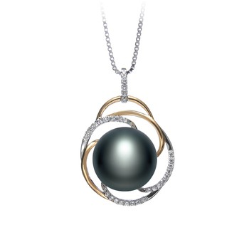 Zina Black 12-13mm AA Quality Freshwater 925 Sterling Silver Cultured Pearl Pendant
