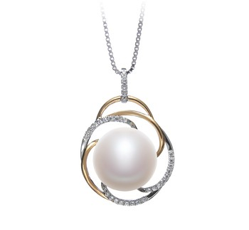 Zina White 12-13mm AA Quality Freshwater 925 Sterling Silver Cultured Pearl Pendant