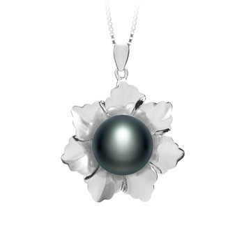 Zoe Black 11.5-12mm AA Quality Freshwater 925 Sterling Silver Cultured Pearl Pendant